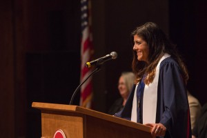 The Sally McDonnell Barksdale Honors College 2016 Senior Presentations- Sara Kiparizoska gives the graduates their charge.  Photo by Kevin Bain/Ole Miss Communications