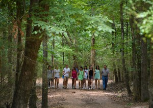 Dr. James Reid leads a group of students on a tour of Rowan Oak during the Sally McDonnell Barksdale Honors College welcome week 2016. Photo by Thomas Graning/Ole Miss Communications