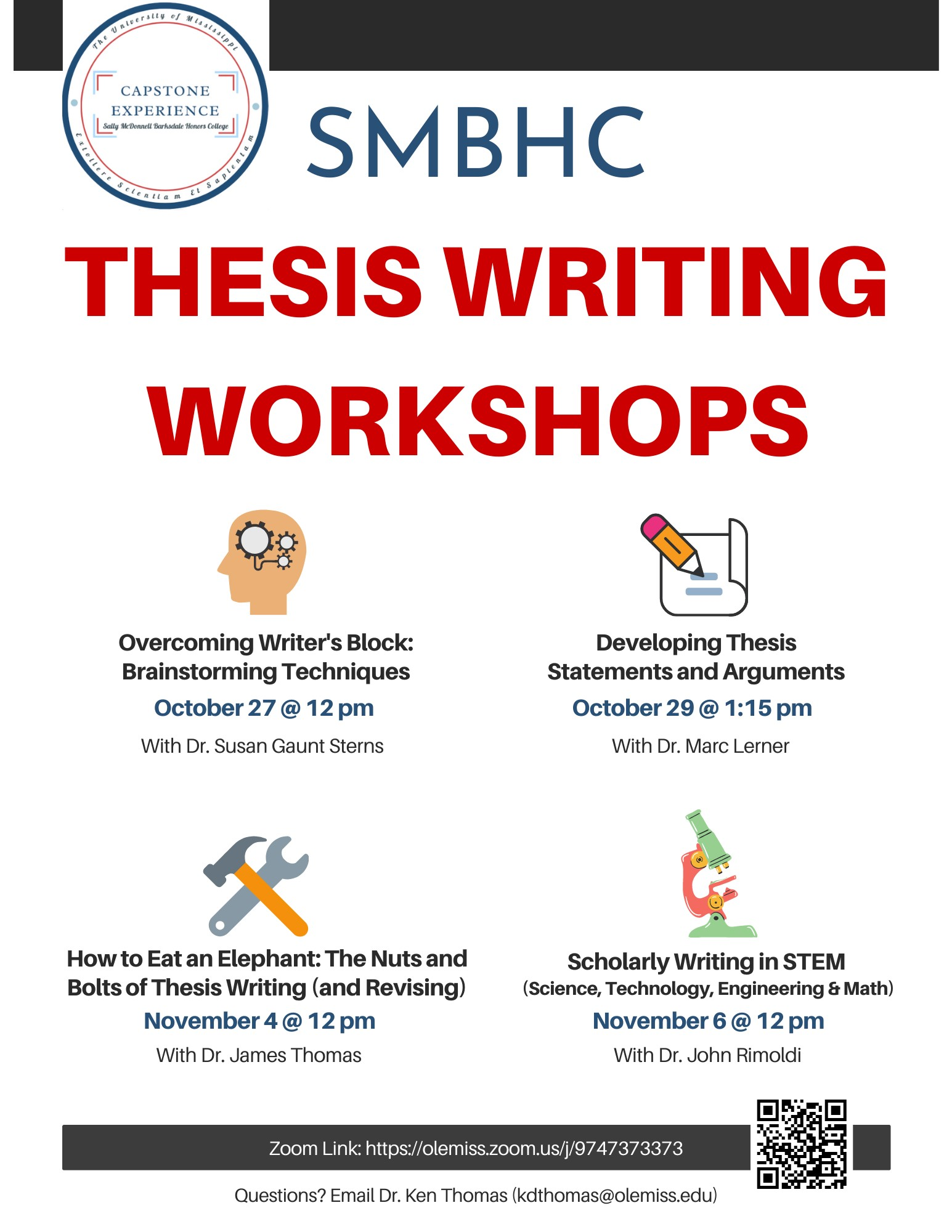 Thesis Writing Workshop with Dr. Susan Gaunt Sterns